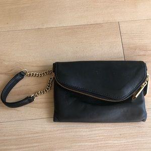 Henri Bendel black leather wristlet clutch gold